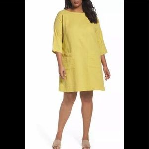 EILEEN FISHER Yellow Organic Cotton Tunic 2X Dress